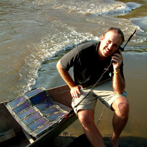 Using the suns energy the Brink Expedition is able to charge and use a satellite phone from anywhere on the planet and that includes the remote tributaries of the Amazon!